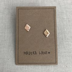 Tiny Hammered Diamond Stud Earrings in Gold. Sterling Silver Posts. Geometric Studs. Basic Shape Earrings. Minimalist Everyday Jewelry. by MaderaLane on Etsy