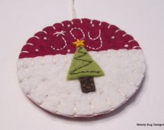 """JOY, Tree Ornament, Wool Felt Tree with Tiny Star Button, Red Wool Felt Background Color, Cotton Batting """"Snow"""", French Knots"""