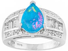 .97ct Pear Shape Blue Ethiopian Opal With 1.20ctw Baguette And Round White Topaz Silver Ring
