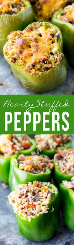 Hearty stuffed peppers are filled with brown rice, sausage and veggies!