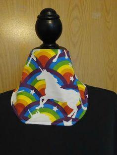 rainbow unicorn bibdanna, girl bib, baby bandanna bib, flannel bibs, unicorn bandanna, baby shower gift, rainbow unicorn bandanna, dog bib by RoseCityCrafter on Etsy