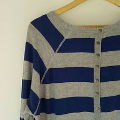 """If it were me  Blue Gray Striped Sweater Button Bk Adorable Blue and gray striped sweater with buttons running up the back. Brand is """"If it were me"""" which I believe have done clothes for Anthropologie. Size L juniors. Would fit M woman. Sweaters Crew & Scoop Necks"""