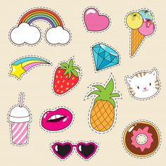 Ice Cream, Cupcake, Pineapple And Pussy Cat Icons Pop Stickers, Cartoon Stickers, Tumblr Stickers, Printable Stickers, Journal Stickers, Scrapbook Stickers, Planner Stickers, Cat Icon, Homemade Stickers