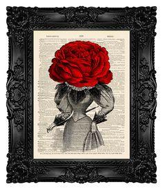 ROSE HEAD WOMAN Art Gift for Her Flower Girl Gift for Girlfriend Gift Girls Room Wall Decor Girlfriend Wall Art Gardener Gift Womens 274