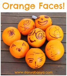 Add a bit of character to your fruit bowl with these fun orange faces that kids can help draw. ~ Danya Banya