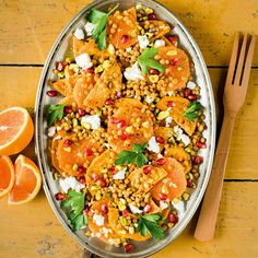 A riot of flavour and textures, this colourful salad will create a wow effect every time you serve it. It's an excellent way to sneak healthy lentils into your diet, though you could substitute chickpeas if you prefer.