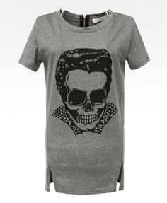 Skeleton Print T-Shirt with Vents