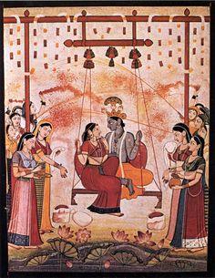 Hindola Raga Hindora-raga Rajput painting. Pahari School chamber c.1770