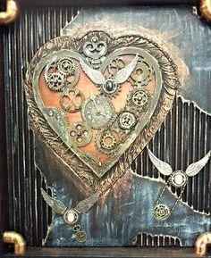 Steampunk heart shadow box by Stewart at www.Stewdio61.com