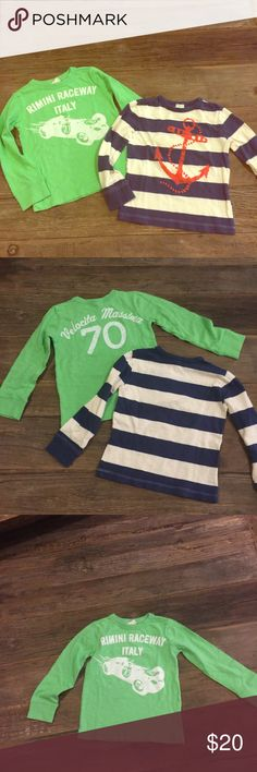 Bundle of 2 crewcuts long sleeve t- shirts Bundle of 2 crewcuts long sleeve t- shirts in very good condition. One is green with a race car and the other is off white with blue stripes and a red anchor. No holes nor stains but preloved. Size 3T Crewcuts Shirts & Tops Tees - Long Sleeve
