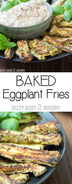 Baked Eggplant Fries make a healthy snack or side! #snacks #eggplant