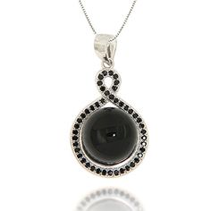 Black Onyx and Black Spinel Pendant Necklace Jewelry for Women *** See this great product.(This is an Amazon affiliate link and I receive a commission for the sales)