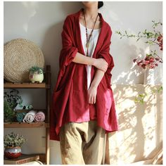 Women cotton linen loose cardigan long sleeve coat