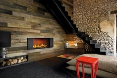 Elegant Indoor Fireplace with Wooden Wall Alloy Composition Klee Love the idea of a bench over woodpile Wooden Wall Cladding, Wooden Walls, Slate Fireplace, Slate Hearth, Modern Fireplace, Fireplace Mantel, Country Living Decor, Wood Wall Design, Rustic Design