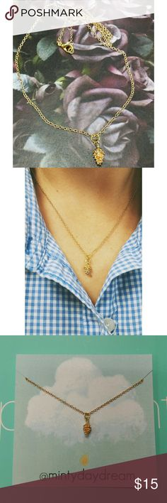 < Dainty Pine Cone Necklace > New, Gold Tone, **UNBRANDED/LISTED FOR EXPOSURE** Free People Jewelry Necklaces