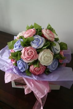 Purple, pink and cream cupcake bouquet by Sweet Tooth Cake Creations. Cupcake Flower Bouquets, Floral Cupcakes, Yummy Cupcakes, Cupcake Cookies, Cupcake Toppers, Buttercream Cupcakes, Buttercream Flowers, Frosting, Cupcake Arrangements