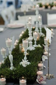Grass table runner at a wedding reception | Green Grass Wedding Reception Details For Spring