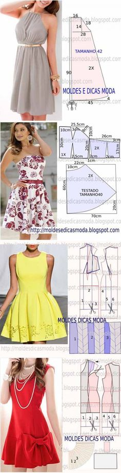 5 more simple patterns of women's dresses Diy Clothing, Sewing Clothes, Clothing Patterns, Sewing Patterns, Look Fashion, Diy Fashion, Maxi Skirt Tutorial, Baby Dress Patterns, Dress Tutorials
