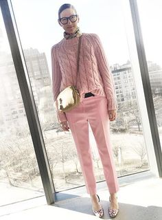 TinkY-PinkY :) - pink pants and sweater, beige bag, flower printed scarf, geometric printed shoes Garance Dore, Jenna Lyons