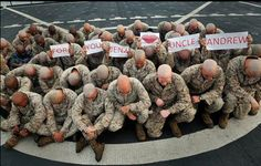 Apparently, all these marine's shaved their head because one of the marine's neices has cancer. so sweet.