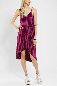 Sparkle & Fade Knit Stripe High/Low Midi Dress #urbanoutfitters. yes please.