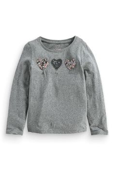 Buy Three Sequin Heart Grey (3-16yrs) online today at Next: Australia
