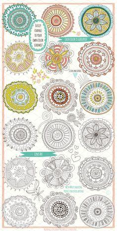Mandala Decorative Elements by Carrie Stephens Art on @creativemarket