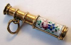 Victorian 9ct gold & enamel telescope charm with a Lord's Prayer stanhope. www.sandysvintagecharms.com