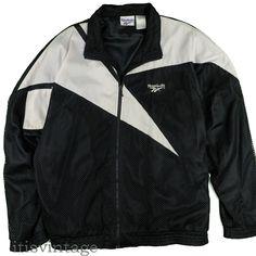 3e035d93d5bf40 Reebok Windbreaker Jacket 2XL Vintage 1980 s Mesh Full Zip Color Block –  itisvintage  reebok
