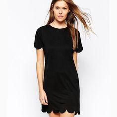 Black Scallop Hem Dress