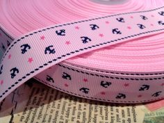 """1"""" Preppy Nautical PINK With NAVY Anchors with Pink Stars on Cream Grosgrain Ribbon. $1.25, via Etsy."""