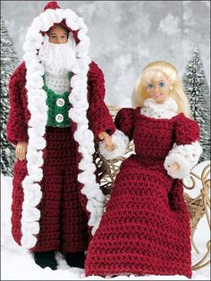2 RARE Fashion Barbie Ken Doll CHRISTMAS Santa Mrs Claus Outfit Costume Present Crochet PATTERNS handmade gift