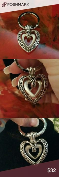 Brighton keyring all silver with moving heat inside detailed heart. beautifully crafted and nwot. Brighton  Accessories Key & Card Holders