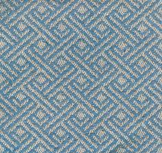 Easton Fabric An upholstery fabric woven with an orthogonal geometric design in blue and ivory.