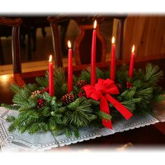 Christmas Table Centerpieces With Candles | Classic 5 Candle Centerpiece WebNuggetz.com