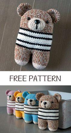My Favorite Crochet Bear - Craft & Patterns Crochet Teddy Bear Pattern Free, Teddy Bear Patterns Free, Knitted Teddy Bear, Crochet Animal Patterns, Crochet Doll Pattern, Crochet Stitches Patterns, Crochet Patterns Amigurumi, Crochet Dolls, Crochet Designs