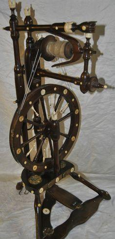 Hochfeines Spinnrad reich mit ......Bein verziert Adelshaushalt für ein Mädchen | eBay