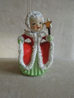Vintage Napco Christmas Angel Bell Figurine Holding Gold Star Spaghetti Trim