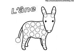 coloriage l'âne à gommettes