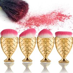 New Design 1PCS Gold Fish Scale Makeup Brush Fishtail Bottom Brush Face Powder Blush Cosmetic Makeup Brush Beauty Tool Kit