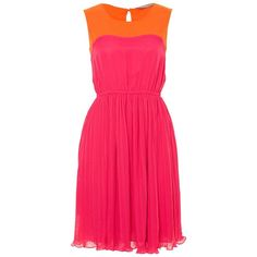 Fabulous Hot Pink Colour Block Pleated Dress found on Polyvore