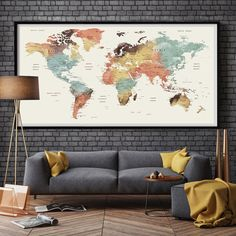 World Map Wall Art, world map push pin, Large watercolor wall art worldmap poster wall decor art print, Living room and office decor - Wandkunst Large World Map Poster, World Map Wall Art, Wall Maps, Art World, World Map Decor, World Map Bedroom, World Map Design, Watercolor World Map, Watercolor Canvas