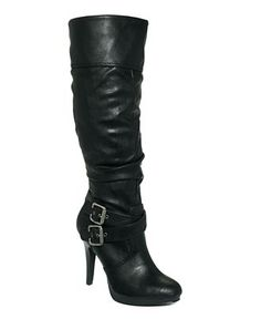 Womens Black Biker Leather Style Flat Wide Calf Boots - from Spy ...