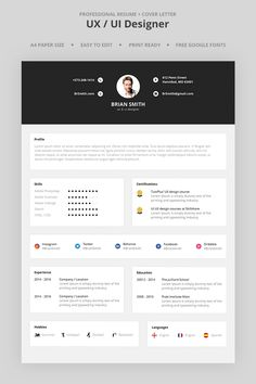 Brian Smith Uxui Designer Resume Template 66981 Designer Resume Template, Gallery Brian Smith Uxui Designer Resume Template 66981 Designer Resume Template with total of image about 24136 at Best Cover Letter Portfolio Web, Portfolio Resume, Portfolio Design, Graphic Design Resume, Freelance Graphic Design, Ui Ux Design, Graph Design, Design Templates, Cv Web