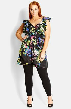 City Chic Floral Print Ruffle Wrap Tunic (Plus Size) | Nordstrom #plus #plussize #fashion