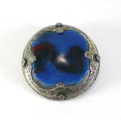 Vintage Miracle Designer Blue And Red Art Glass Brooch Pin