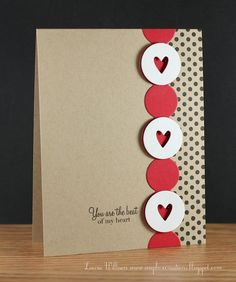 handmade card ... kraft ... PTI circles die strip ... red with large circles coveedr with with ones with hearts in the center ... great Valentine/love sentiment ...