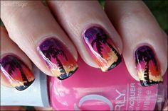 Beach sunset nails. nail-art