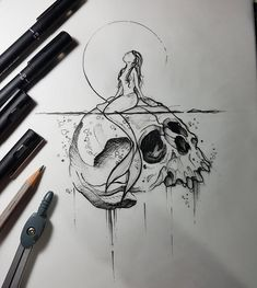Drawing created by the Brazilian artist Felipe (phil.tattoo) of Rio de Janeiro. Tattoo Drawings, Body Art Tattoos, Pencil Drawings, Art Drawings, Gaming Tattoo, Desenho Tattoo, Skull Art, Drawing People, Art Inspo