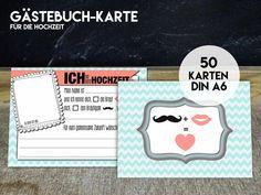 Hochzeitsgästebuch - 50 GÄSTEBUCH KARTEN für die Hochzeit als Gästebuch - ein Designerstück von KleineFabrik bei DaWanda